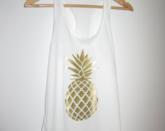 Pineapple - Choose Your Color, Sizes XS-XXL tank top metallic gold