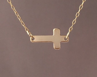 Gold Fill Sideways Horizontal Cross Necklace also in Silver