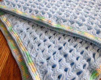 Blue Hand Crocheted Baby Blanket
