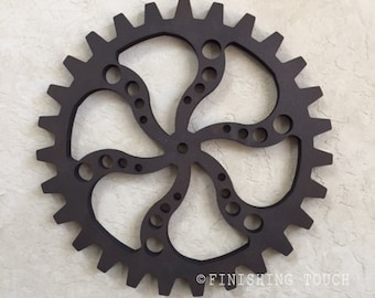 Large Industrial Style- Style 4- Wood Gear Steampunk Sprocket Mechanical Decor Wall hanging Vintage Rustic Wheel Panel Factory Molds