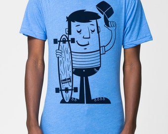 Don't call it skateboard - premium poly-cotton T-Shirt American Apparel - Heather Lake blue