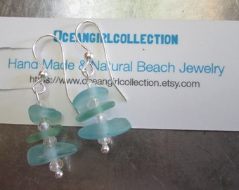 Genuine sea glass earrings- RARE Teal and aqua  Sea Glass earrings on sterling silver  HandMade beach jewels rare seaglass