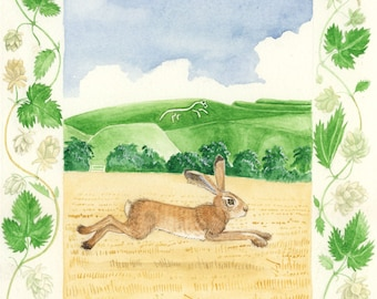 Autumn hare at Uffington