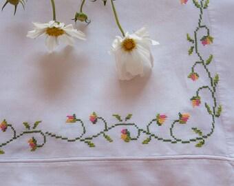 Kids Bedding Cross Stitched florals, circa 1930