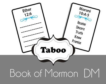 Doctrinal Mastery Book of Mormon Taboo Game - LDS Seminary Class - Printable - Updated