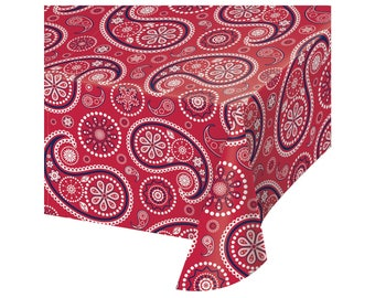 Western Tablecloth - Western Birthday Party, Cowboy Party, Western Baby Shower, Cowgirl Birthday, Farm Birthday, Barn Party, Red Paisley