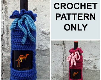 PDF Crochet Pattern, Wine Cozy, Wine Bag with Tie, Wine Holder, Instant Download