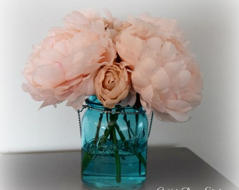 Blush Pink Peony Arrangement in Turquoise Blue Mason Jar Vase