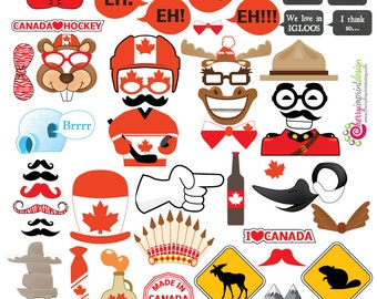 46 Hilarious Canada - Canada Day Photo Booth Props Great for Canadian Themed Parties - INSTANT DOWNLOAD - DIY Printable