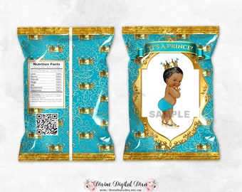 Printable Chip Bags | Little Prince Turquoise Blue & Gold | African American Vintage Baby Boy | Digital Instant Download