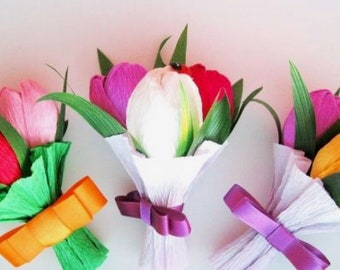 Cone bouquets made from crep paper with candies in each flower!
