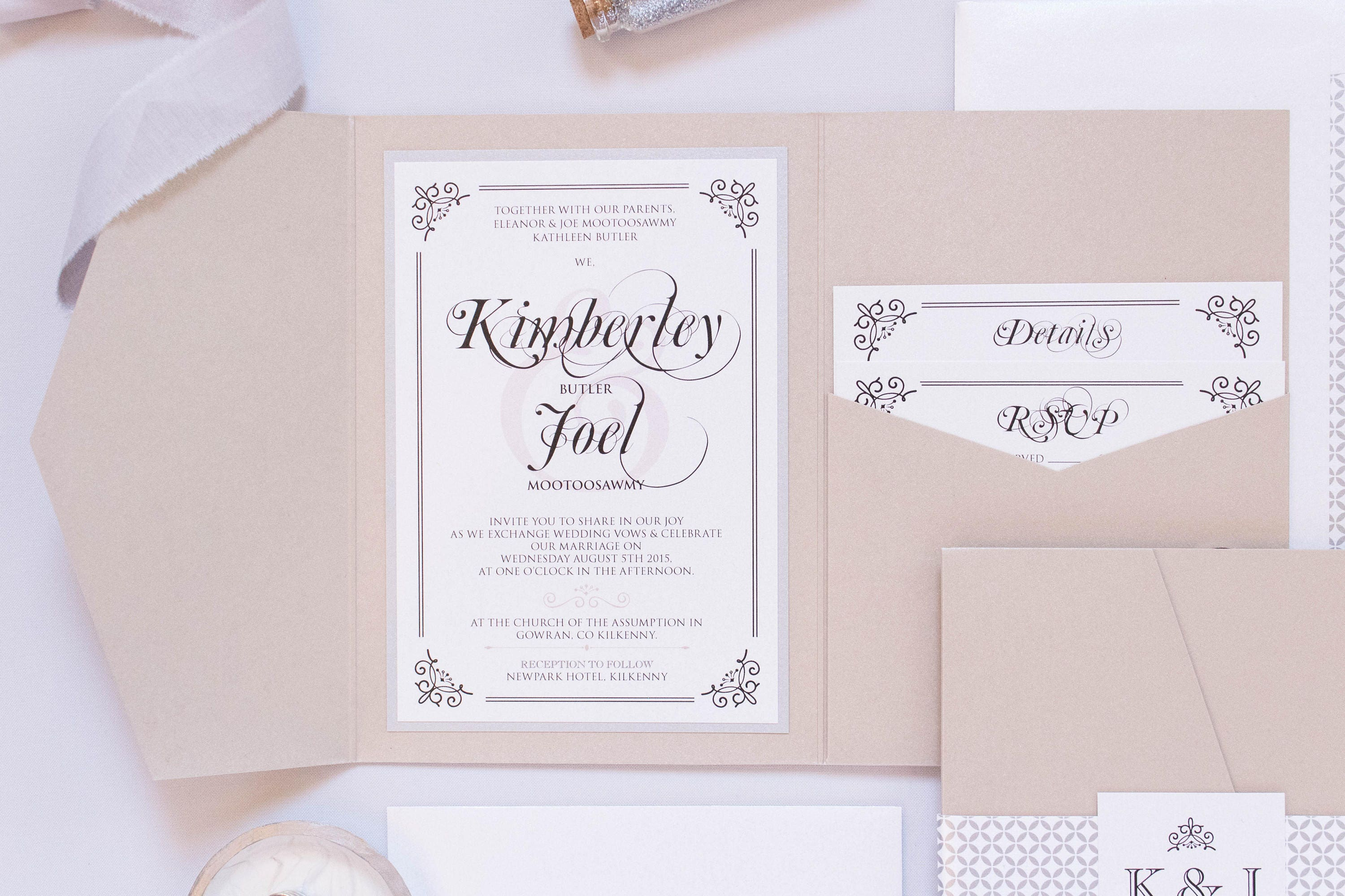 5x7 Metallic Beige and Silver Pocket Wedding Invitation with