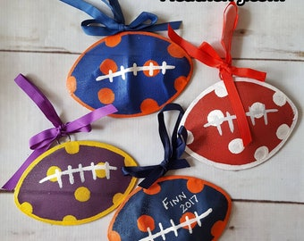 Personalized Football Ornament Navy Orange Royal Blue Purple Gold Crimson Garnet Red