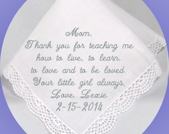 Mother of the  Bride Handkerchief  Heirloom Embroidered, Personalized Hanky, Gift, Handkerchief