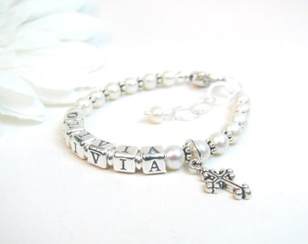 Baptism or Christening Bracelet - Baby Name Bracelet - Personalized Bracelet for Newborn Infant Baby Little Girl - Girl Baptism Gift