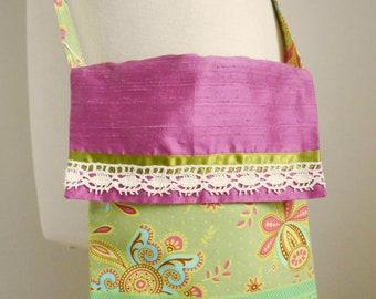 Small Crossbody Bag Small bag Green bag 'Indian Summer' Print Bag Small green and pink bag Wedding trends 2018 Day bag Pink and green bag