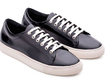 Crystal Sneakers Black Shoes, Genuine Leather, Fashion Sneakers, Patent Leather Shoes, Women Black Shoes, Black Crystal Shoes, Sneaker