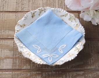 Gorgeous Blue Cotton Hankie with White Applique Accents Something Blue for the Bride