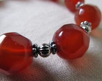 Gorgeous Genuine CARNELIAN/SILVER Bracelet--Remarkable, Fiery Color, Like Wearing Sunrise