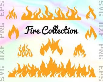 Fire SVG Files - Fire Clipart - Flames Cricut Files - Fire Dxf Files - Fire Cut Files - Fire Png - Flames Silhouette - Svg, Dxf, Png, Eps