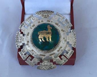 18K gold Llama Turquoise Round Dome Bezel Set 925 Sterling Silver Peruivan Brooch Pendant Hallmark