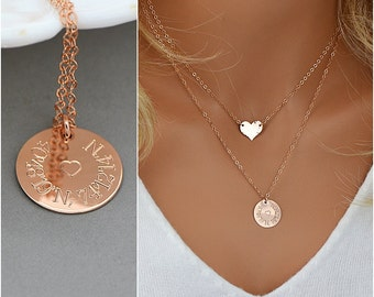 Custom Coordinates Necklace / Coordinates Gift / GPS Coordinates / Custom Coordinates Jewelry / Rose Gold Disc Necklace / Personalized Disc
