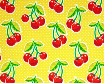 Cherries Cotton fabric, Yellow polka dots with cherries, Cherries and dots 100% cotton fabric for Quilting crafting and all sewing projects.