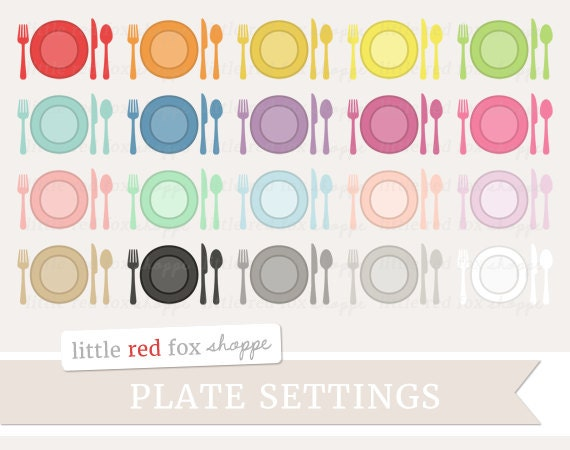 Plate Setting Clipart Dinner Setting Clip Art Dining Dinner Plate Utensil Fork Spoon Knife Cute Digital Graphic Design Small Commercial Use  sc 1 st  Etsy : plate setting clipart - Pezcame.Com