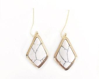 Marble Drop Dangle Earrings - White Marble Earrings - Dangle Earrings - Drop Earrings - Marble Jewelry - Carrara Marble - Statement Earrings