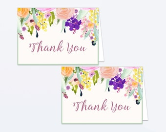 Printable Floral Thank You Card - Printable Instant Download - Floral Baby Shower Thank You Card - Floral Watercolor Thank You Card