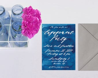 Watercolor Engagement Party Invitations or Rehearsal Dinner Invitations