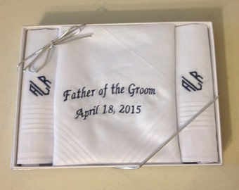 Father of the Bride / Groom, Men's Handkerchief  set of 3 w/Free Monogram,  special occasion gift, 100% cotton