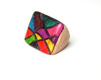 Colorful Mosaic Ring, Large Multicolored Ring, Vibrant Geometric Ring, Square Shape Ring, Mosaic Square Ring, Colorful Statement Ring