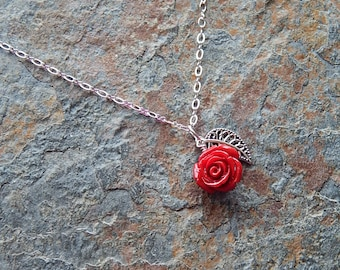 Red rose necklace - carved stone flower and silver leaf - delicate flower necklace - Mothers Day gift - feminine - floral - flowers for mom