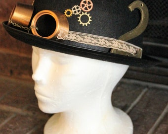 Steampunk Hat - Upcycled/Found Elements - Derby Bowler Top Hat