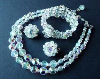 Signed Hobe Parure Necklace Bracelet Earrings Vintage Set AB Rivoli Swarovski Crystal Beads Silver Tone Metalfrom TreasuresOfGrace
