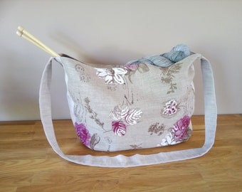 Tote {old Roses} with handle, is handmade, spring, summer, linen, cotton, knitting bag