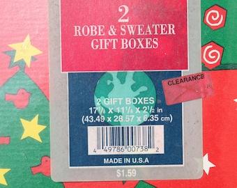 Vintage Christmas Gift Boxes Mervyn's 80's Robe Sweater Box