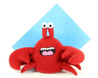 Crab Plush Toy, Red Crab Plushie, Crab Stuffed Toy, Cuddly Soft Crabs, Funny Crab Marine Animal, Handmade Crab Stuffie, Crustacean Plush