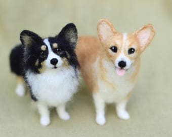 Made to order custom needle felted dog, memorial, portrait, Corgi or your dog's breed, 11-12 month turnaround time