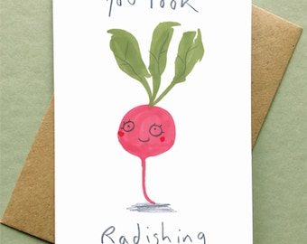 Valentines Card You Look Rad Birthday Card Vegan Vegetable Greetings Card Radish
