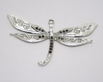 2 Pcs. charms /metal pendants  large Dragonfly / antique silver tone A193