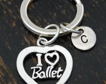 I Love Ballet Keychain, Custom Keychain, Custom Key Ring, Ballet Keychain, Ballet Gifts, Ballerina Keychain, Ballerina Gifts, Ballet Jewelry