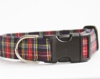 Stewart Plaid Dog Collar - Preppy dog collar, Collier de Chien