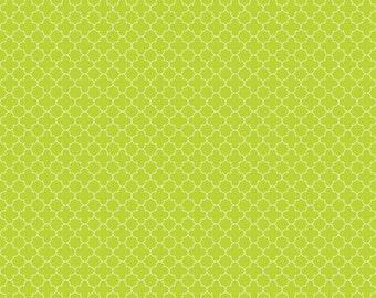 Lime Mini Quatrefoil Fabric, Riley Blake, 100% Cotton, Lime Quatrefoil