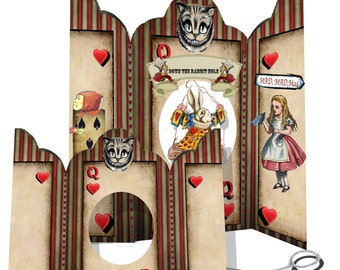 printable Alice in wonderland Valentine's day  card with accessories down the rabbit hole card queen of hearts DIY scrapbook Ephemera