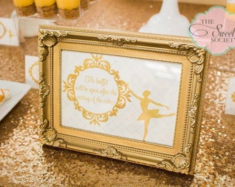 GLITTERY GOLD BALLERINA Printable Party Buffet Sign 5x7
