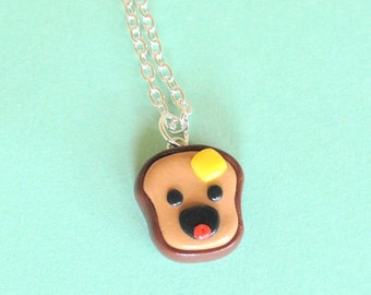 Buttered Toast Polymer Clay Food Necklace