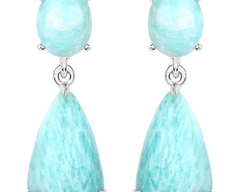 11.40 Carats Amazonite Geo Earrings Set in .925 Sterling Silver with Rhodium Plating