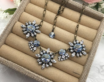 Swarovski Crystal Necklace, Statement Collar Necklace, Something Blue Jewelry, Pale French Blue Necklace, Rhinestone Bridal Necklace